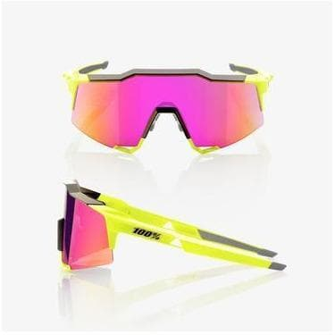RIDE 100% Eyewear Speedcraft Polished Black/Fluorescent Yellow - Purple Multilayer Mirror Lens Default 100%