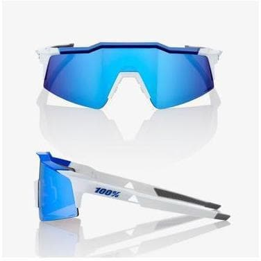RIDE 100% Eyewear Speedcraft SL Matte White/Metallic Blue - HiPER Blue Multilayer Mirror Lens Default 100%