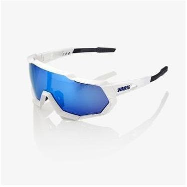 RIDE 100% Eyewear Speedtrap Matte White with HiPER Blue Multilayer Mirror Lens Default 100%