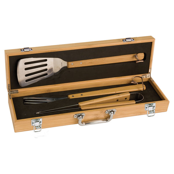 3-Piece Bamboo BBQ Set with Case - Black Diamond Laser Design