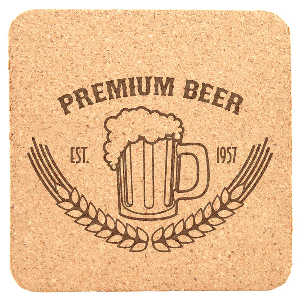 Cork Coaster Set - Black Diamond Laser Design