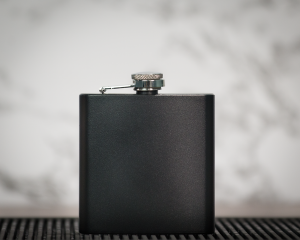 6 oz. Powder Coated Stainless Steel Flask - Black Diamond Laser Design