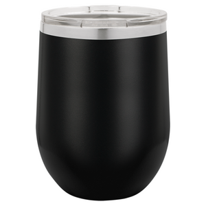 12 oz. Vacuum Insulated Stemless Wine Tumbler - Black Diamond Laser Design