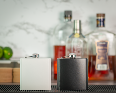 6 oz. Powder Coated Stainless Steel Flask - Black Diamond Laser Design, LLC