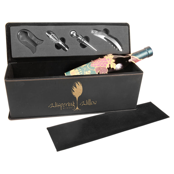 Leatherette Wine Box with Tools - Black Diamond Laser Design