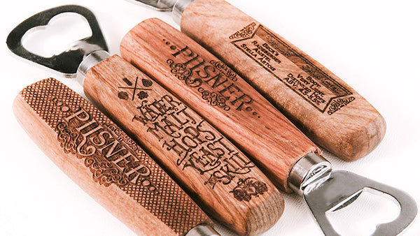 Wood Handle Bottle Opener - Black Diamond Laser Design