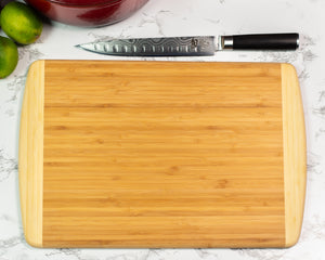 2-Tone Bamboo Cutting Board - Large - Black Diamond Laser Design