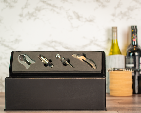 Leatherette Wine Box with Tools - Black Diamond Laser Design, LLC