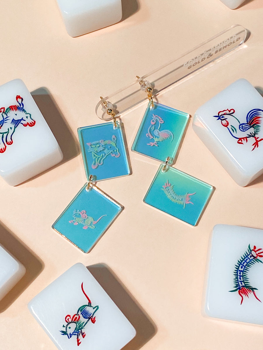 Iridescent Mahjong Earrings –– Animal
