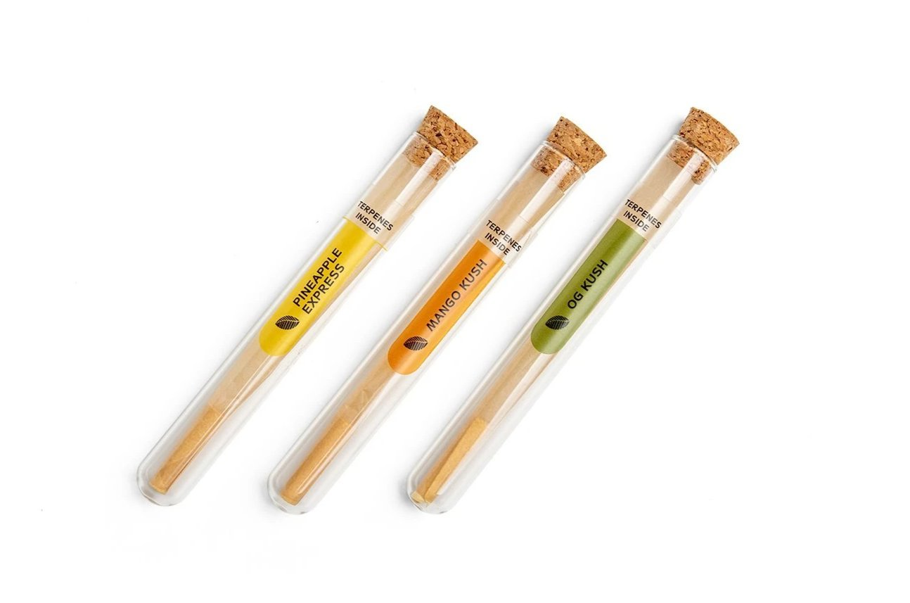 KS PRE ROLLED CONE ENRICHED WITH TERPENES 3 FLAVORS IN GLASS TUBE