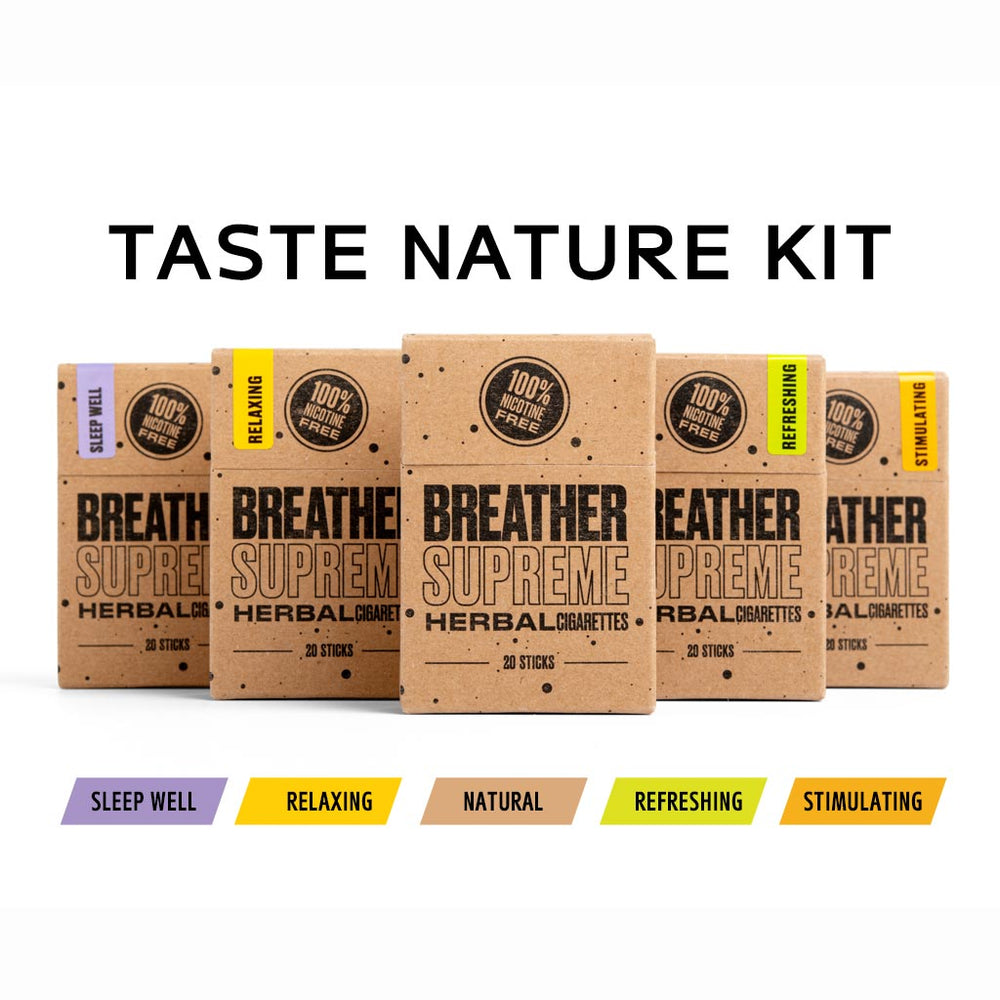 TASTE NATURE HERBAL CIGARETTES KIT- 5 PACKS * 20 SMOKES