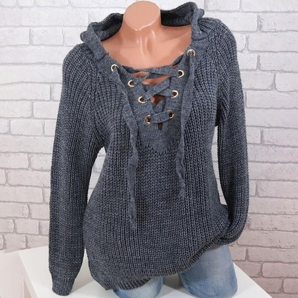 Women's Fashion Lace up Hoodie