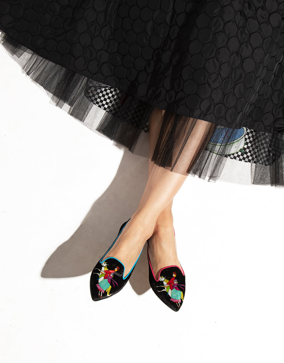 Pointed ballerina in printed velvet