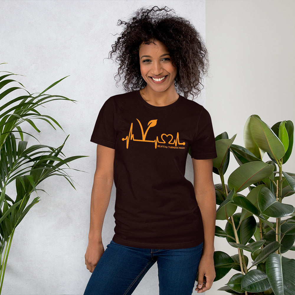 """Vegan Beats by Turmeric Magic"" Orange Short-Sleeve Unisex T-Shirt"