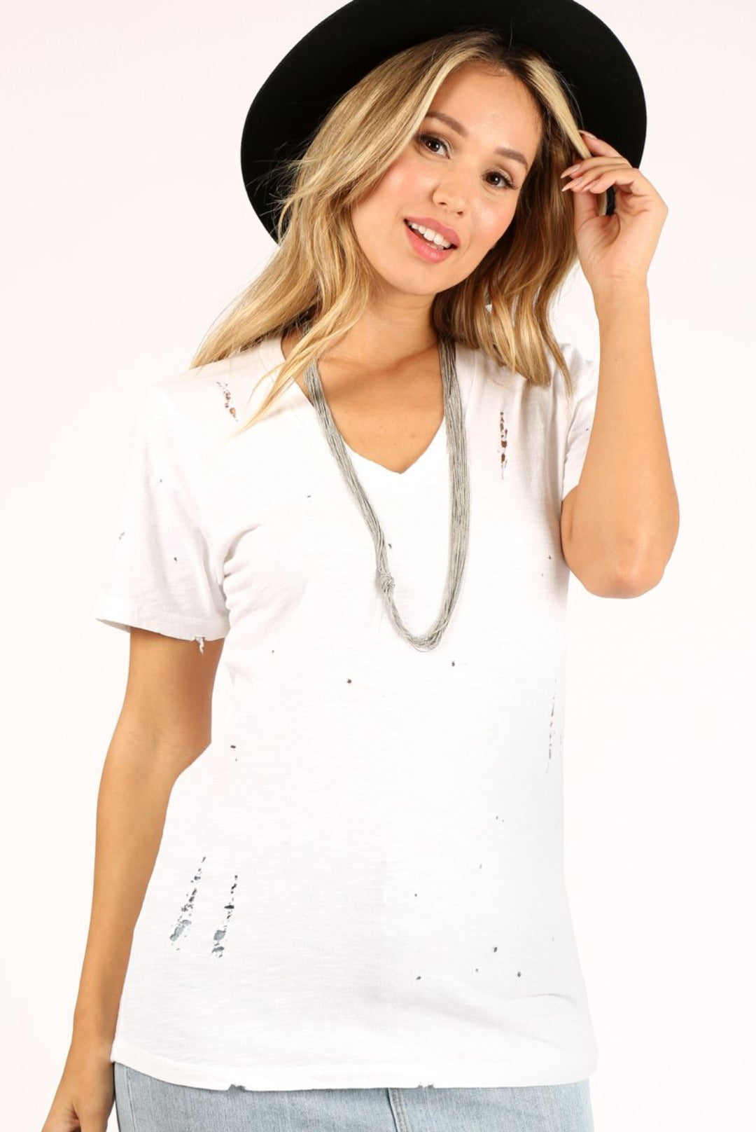 Prince Peter Distressed V-Neck Slub Tee