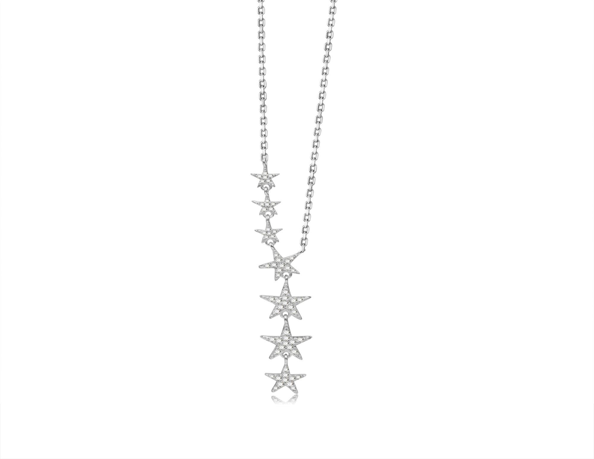Nicki Roxx Sterling Silver Teenie Floating Stars Necklace