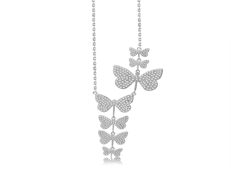 Nicki Roxx Sterling Silver Floating Butterfly Necklace