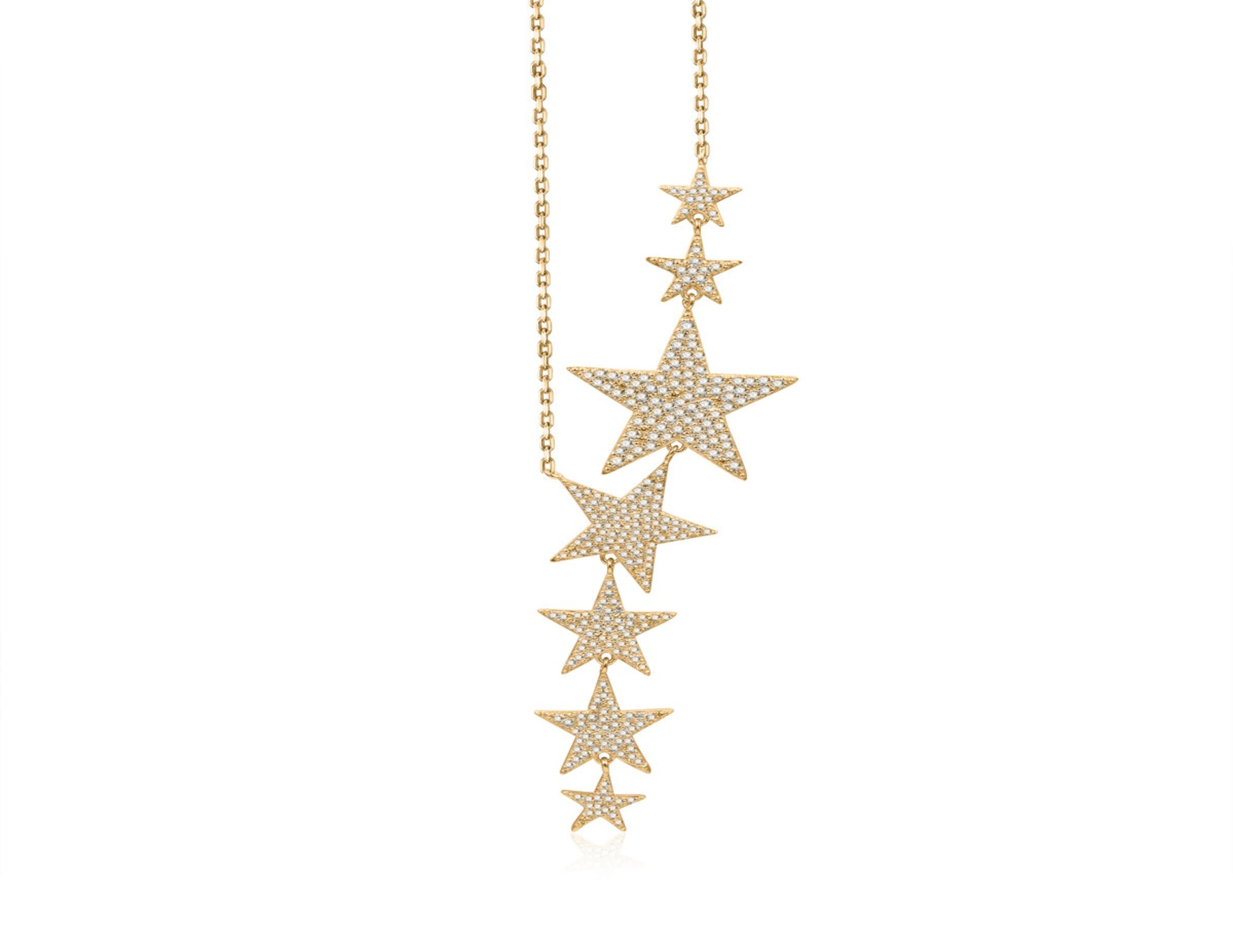 Nicki Roxx Sterling Silver Yellow Floating Stars Necklace