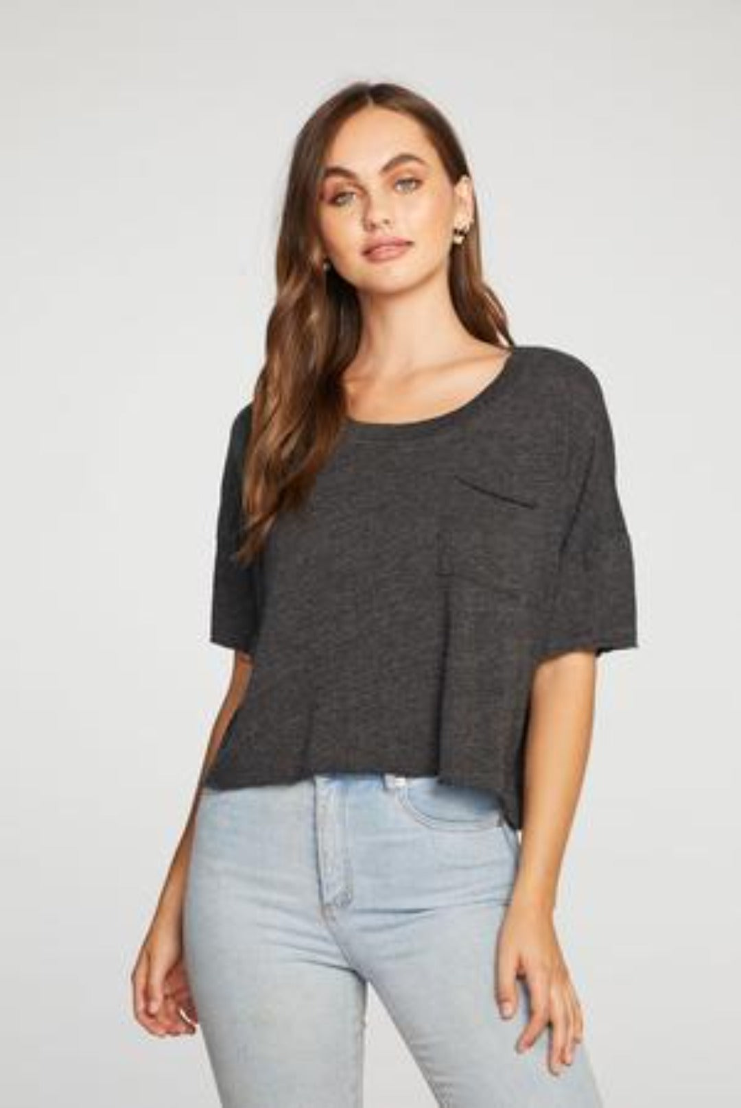 Chaser TRIBLEND JERSEY BOXY CROPPED SHORT SLEEVE POCKET TEE