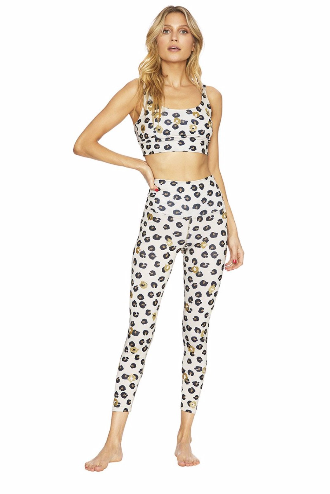 Beach Riot Piper Legging White Gold Leopard