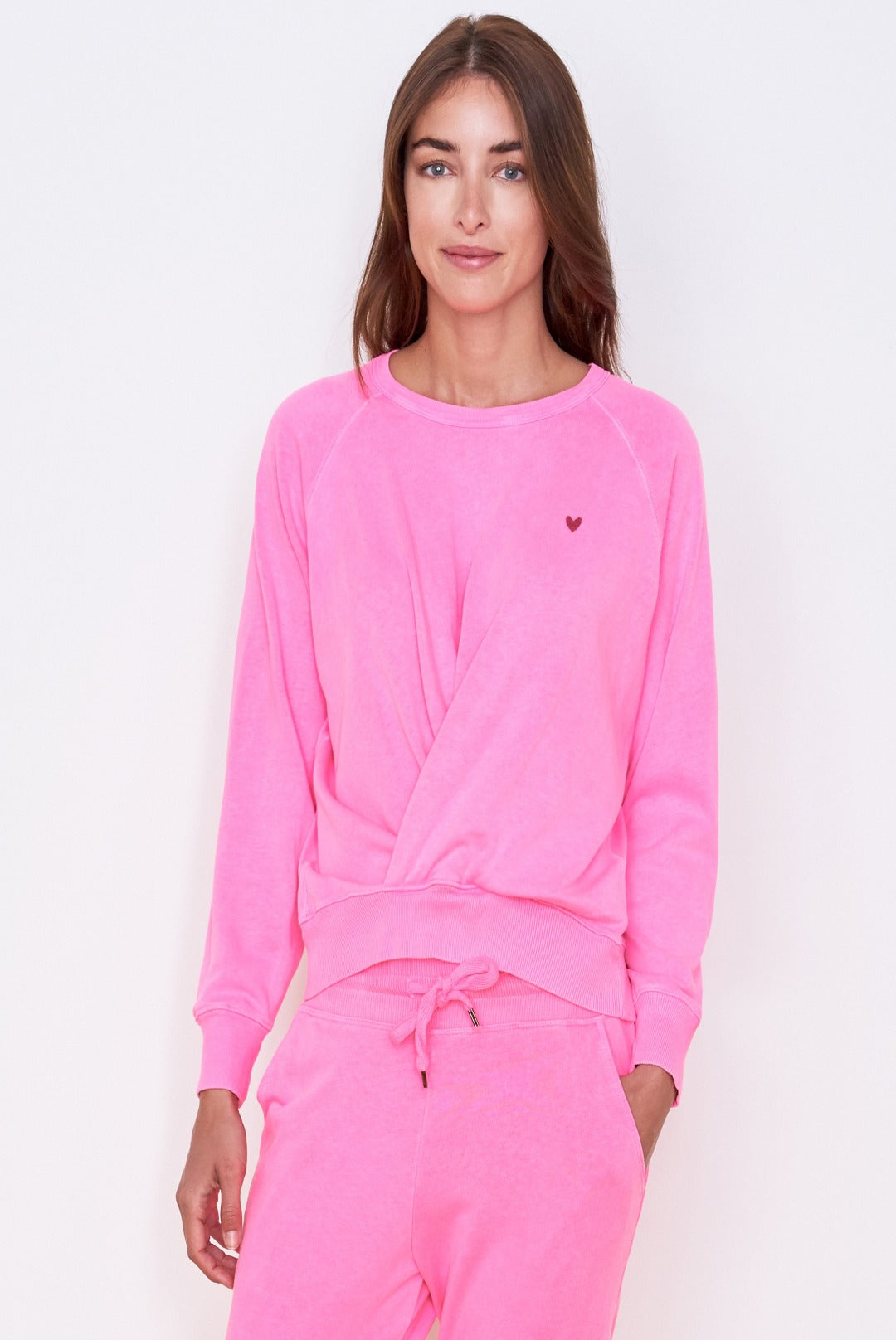 Sundry Little Heart Pleated Sweatshirt
