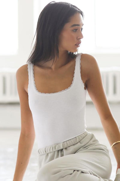 Joah Brown Lace Trim Tank