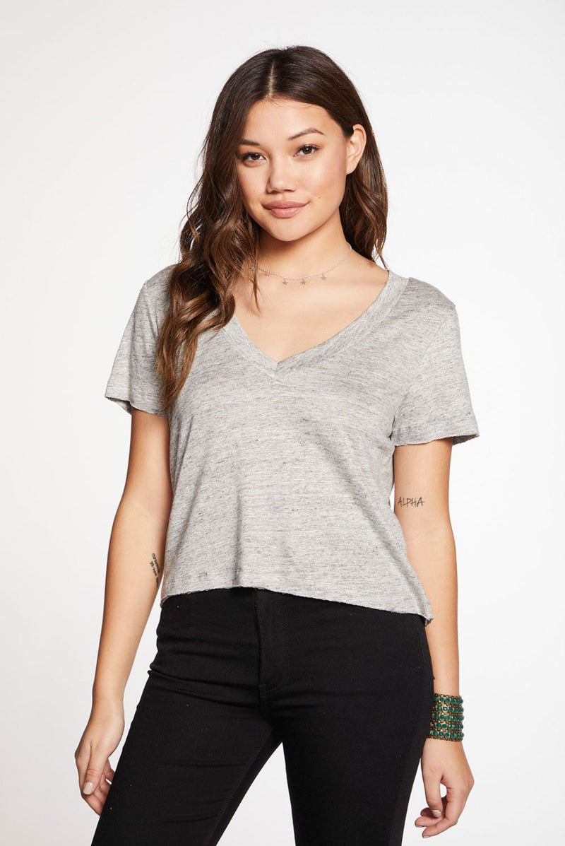 Chaser Cropped V Neck Tee