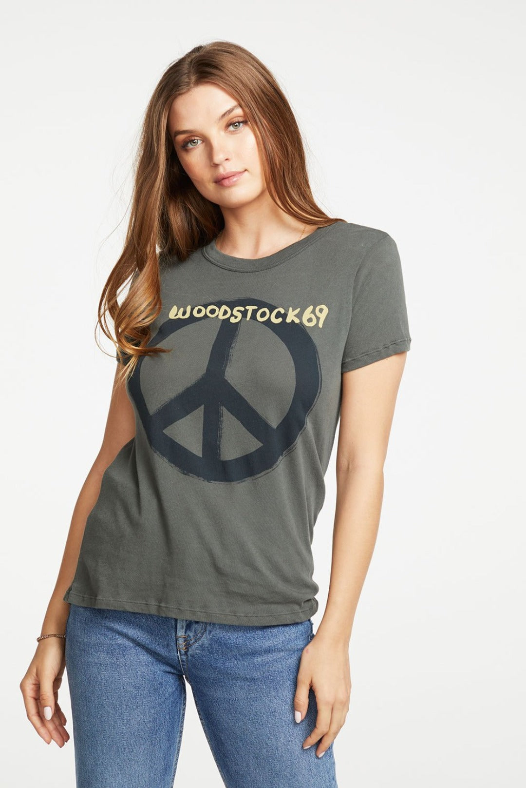 Chaser Woodstock-Peace Sign Slim Tee