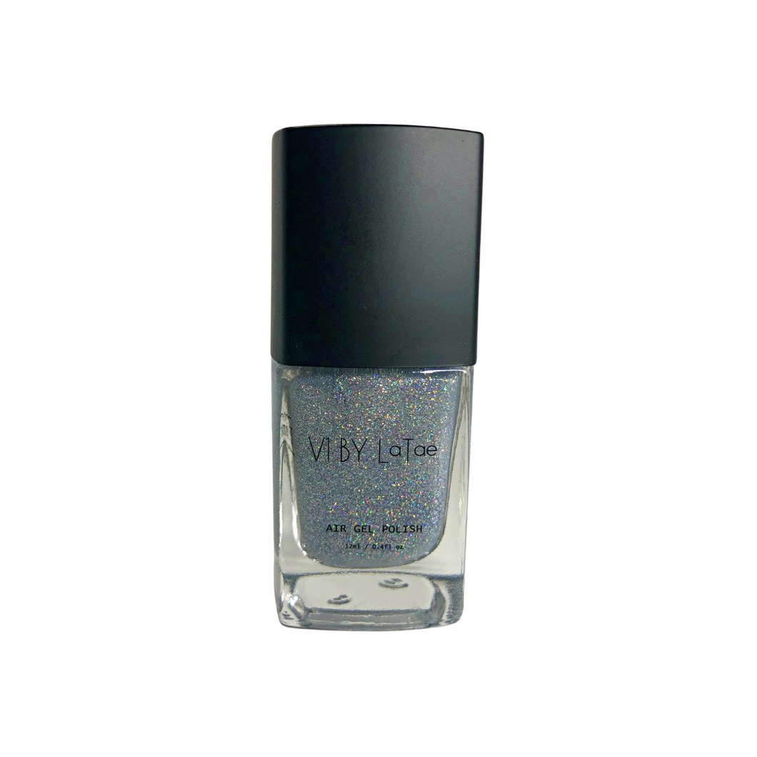 V1 BY LaTae Mineral and Stone vegan, 18-free, air gel nail polish bottle for the color diamond, shimmering glittery rainbow silver