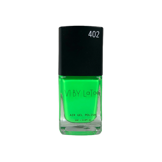 V1 BY LaTae vegan, 18-free, air gel nail polish bottle for the color Green broadbill, green