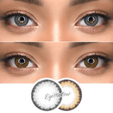 [2set - 20%OFF] Bella Gray + Brown Colored Contact Lenses (Toric)