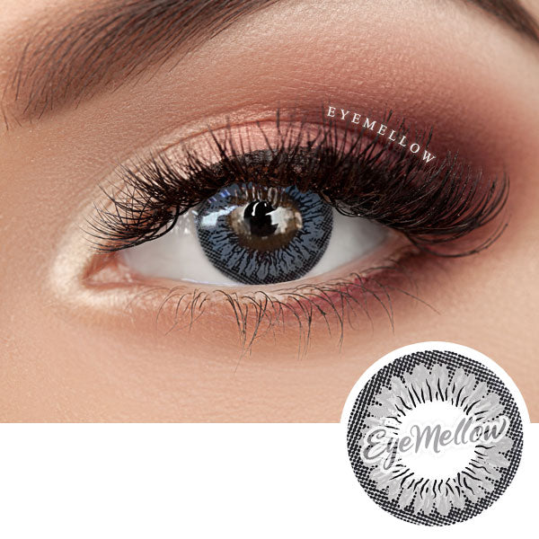 Mono Floral Gray Colored Contact Lenses (Hyperopia)