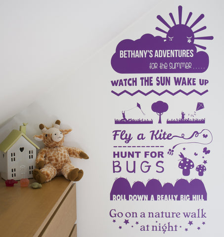 Personalised Adventure Wish List Wall Sticker Nature