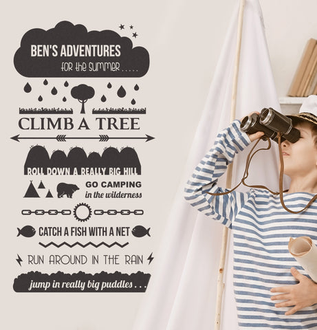 Personalised Adventure Wish List Wall Sticker Wilderness