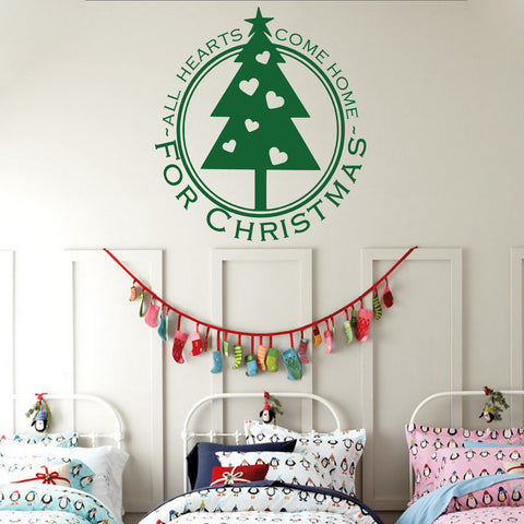 'All Hearts Come Home For Christmas' Wall Sticker