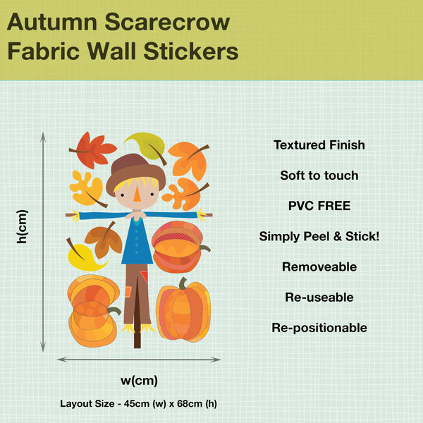 AUTUMN SCARECROW AND PUMPKIN FABRIC WALL STICKERS
