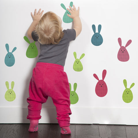Bunny Rabbit Blobs Fabric Wall Stickers