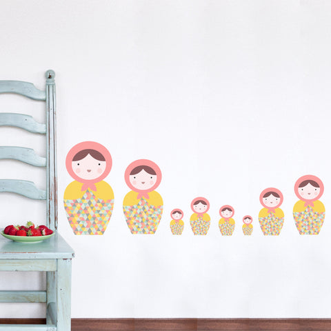 Babushka Matryoshka Dolls Pk1 Fabric Wall Stickers