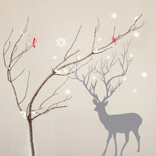 Christmas Deer with Snowflakes Wall Sticker