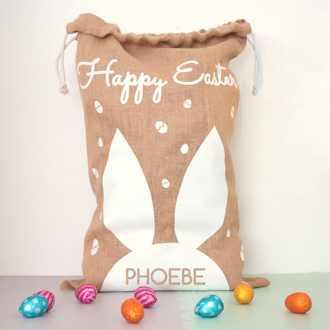 Personalised gift bags and sacks snuggledust studios personalised easter gift sack negle