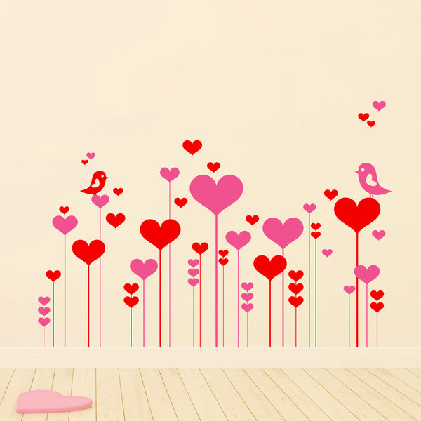 Heart And Flower Garden Wall Sticker Pack