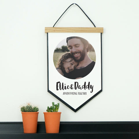Fathers Day Favourite Photo Hanging Flag With Oak Frame