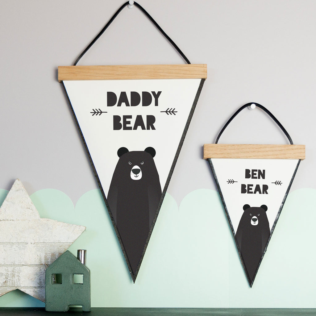 Personalised Bear Pennant Flag With Hanging Oak Frame | SnuggleDust ...