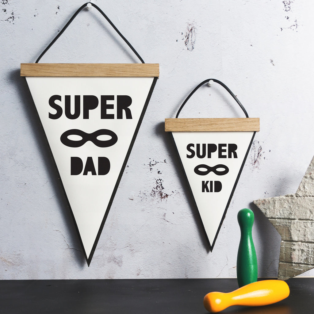 Super Dad Personalised Pennant Flag With Oak Frame | SnuggleDust Studios