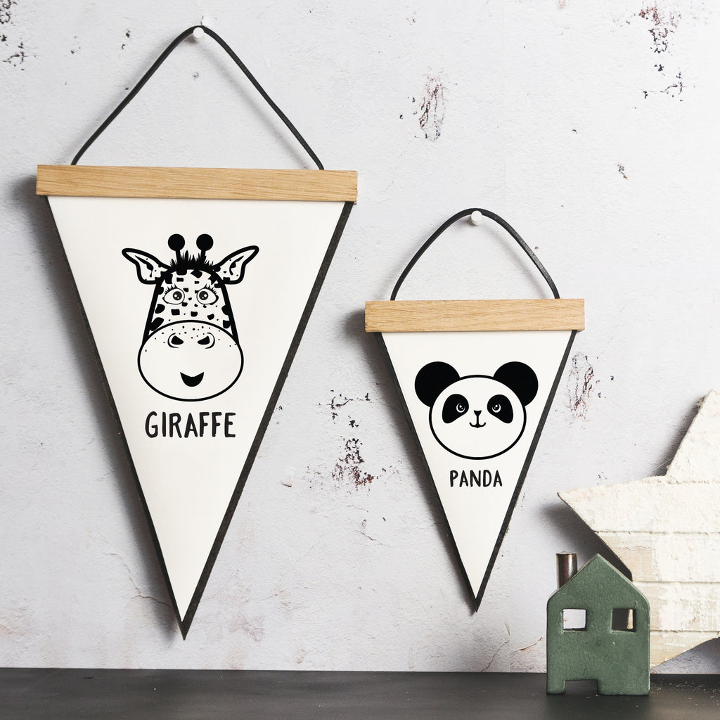Animal Pennant Flag with Oak Hanging Frame | SnuggleDust Studios