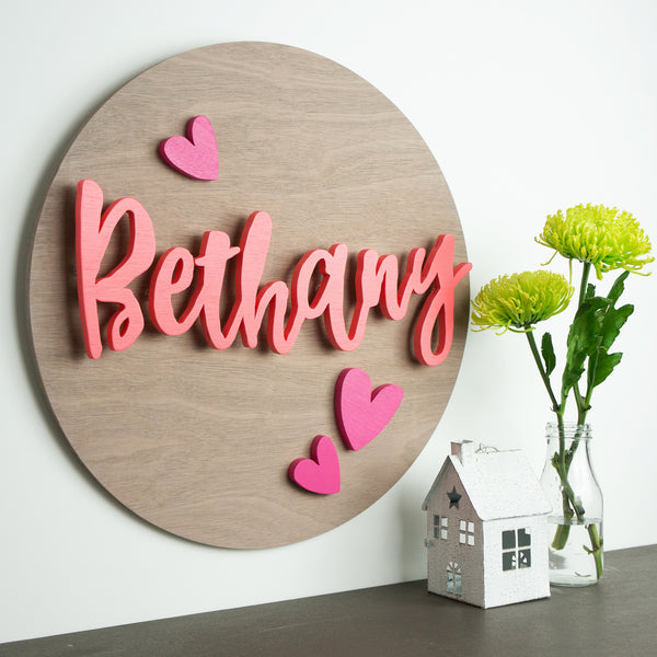 Custom Name Wood Sign | Silhouette Hearts | Wood Cutout | Personalised Wooden Sign