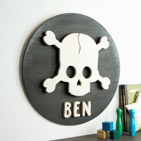 Custom Name Wood Sign | Skull & Crossbones | Wood Cutout | Personalised Wooden Sign