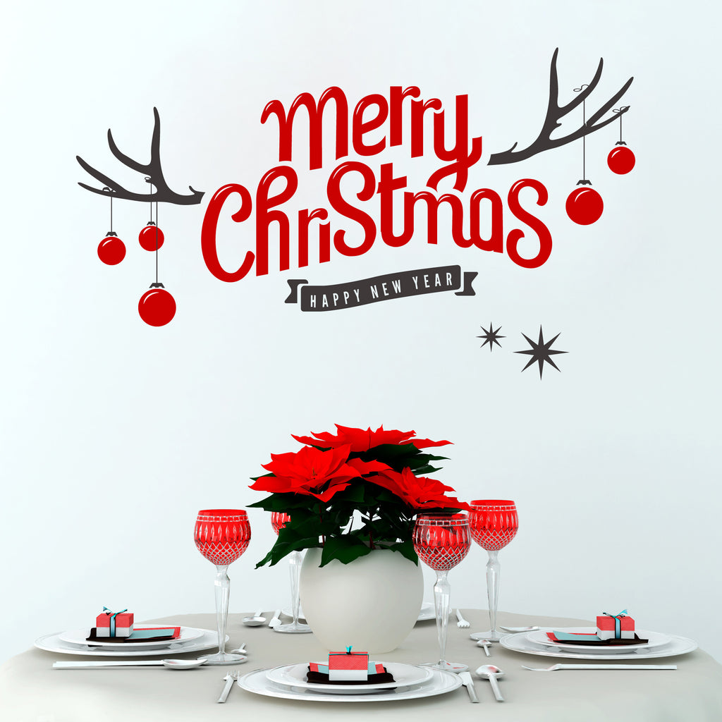 Merry christmas antler wall sticker snuggledust studios merry christmas antler wall sticker amipublicfo Gallery