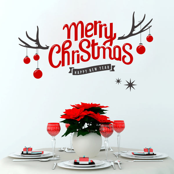 Merry Christmas Antler Wall Sticker