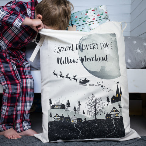 Personalised Santa Sack of Winter Village Scene